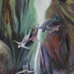 """Rock and Fall1"" 200x140cm Öl auf Nessel 2014"