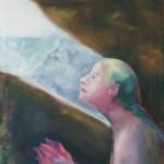 """Eremitin"" 59x78cm Öl auf Nessel 2014"