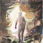 """Body in Cave2"" 150x135cm Öl auf Nessel 2013"