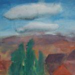 zypressen und wolken aquarell